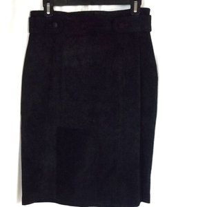 Lord & Taylor Size 12P Pencil Skirt Black Suede